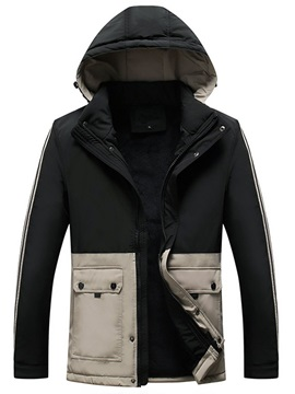 Color Block Zipper Hooded Standard European Men's Down Jacket