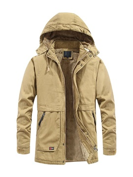 Mid-Length Hooded Plain Patchwork European Men's Down Jacket