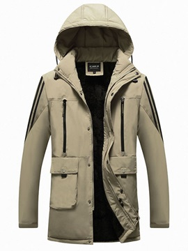 Color Block Pocket Hooded Mid-Length European Men's Down Jacket
