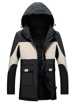 Standard Color Block Patchwork Hooded European Men's Down Jacket
