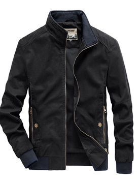 Stand Collar Color Block  Thick Loose Men's Jacket