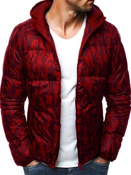 Patchwork Standard Hooded Color Block Zipper Men's Down Jacket