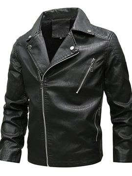 Lapel Plain Standard Zipper Men's Leather Jacket