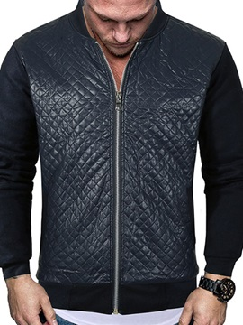 Plain Patchwork Stand Collar Casual Men's Jacket