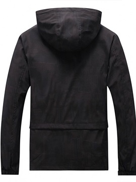 Zipper Plain Thick Hooded Men's Jacket