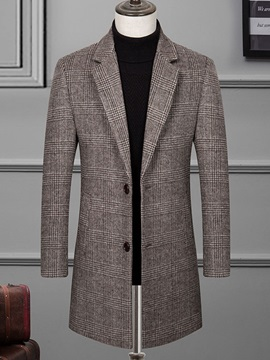 Mid-Length Button Plaid Notched Lapel Men's Coat