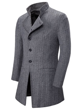 Mid-Length Stand Collar Plain Button Slim Men's Coat