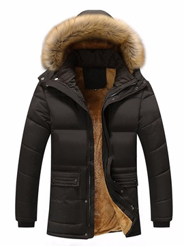 Hooded Zipper Mid-Length Color Block Men's Down Jacket
