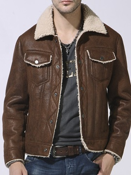 Color Block Standard Lapel Single-Breasted Men's Leather Jacket