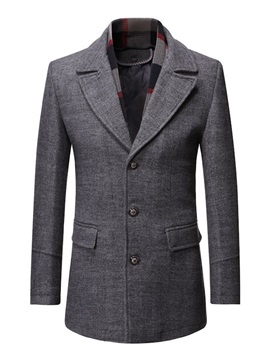 Plain Mid-Length Button Lapel Fashion Men's Coat