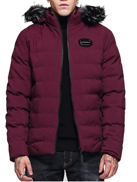 Standard Zipper Hooded Color Block European Men's Down Jacket