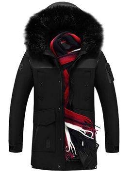 Color Block Hooded Mid-Length Casual Men's Down Jacket