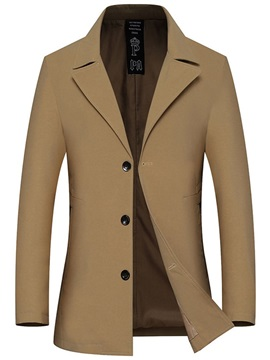 Button Plain Mid-Length Thin Men's Trench Coat