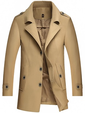 Pocket Plain Mid-Length Thin Men's Trench Coat