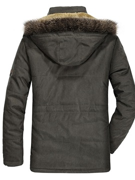 Mid-Length Hooded Button Zipper Men's Down Jacket