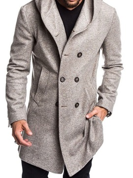 Plain Hooded Button Mid-Length Casual Men's Coat