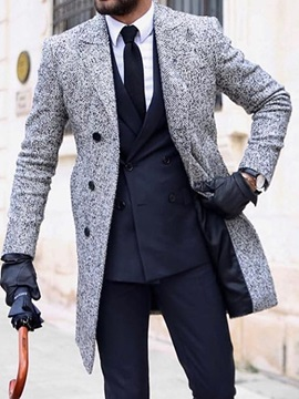 Plain Mid-Length Button Men's Coat