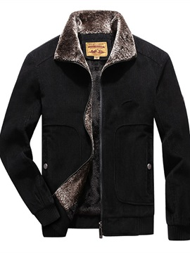 Zipper Lapel Color Block Loose Men's Jacket