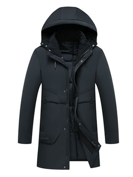 Zipper Mid-Length Hooded Casual Men's Down Jacket