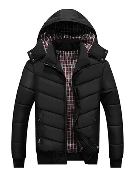 Hooded Plaid Zipper Standard Men's Down Jacket