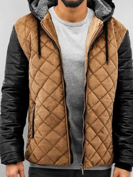 Hooded Color Block Standard Zipper Men's Down Jacket