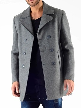 Mid-Length Button Plain Double-Breasted Men's Coat
