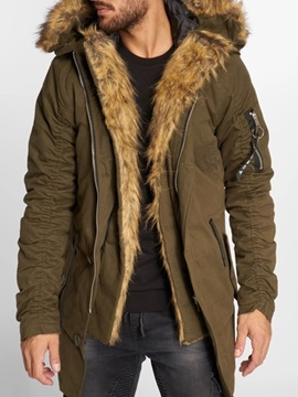 Mid-Length Zipper Color Block Hooded Casual Men's Down Jacket