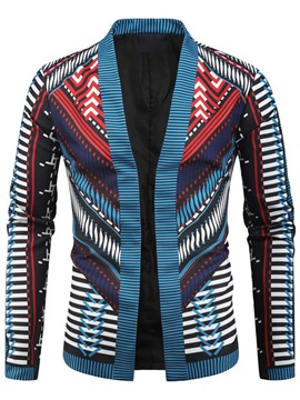 Stand Collar Color Block Print Men's Jacket