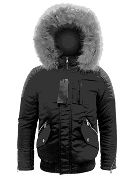 Hooded Color Block Zipper Standard Men's Down Jacket