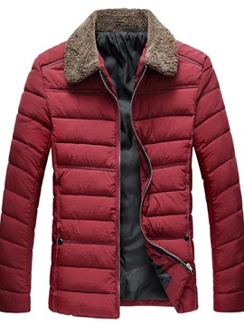 Lapel Patchwork Color Block Mid-Length Zipper Men's Down Jacket