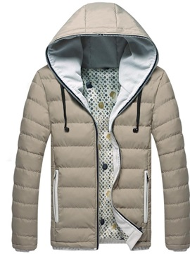 Color Block Zipper Standard Hooded Casual Men's Down Jacket