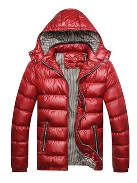 Hooded Color Block Standard Men's Down Jacket