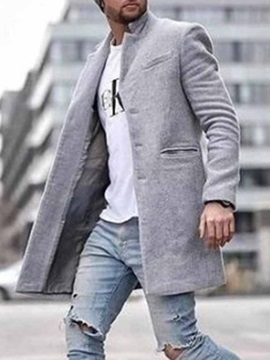 Pocket Mid-Length Plain Straight Men's Coat