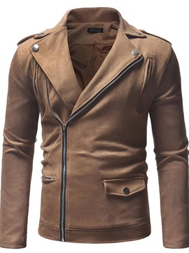 Thick Lapel Zipper Plain Casual Men's Jacket