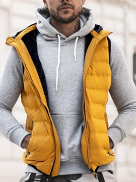 Color Block Thick Pocket Hooded Casual Men's Waistcoat
