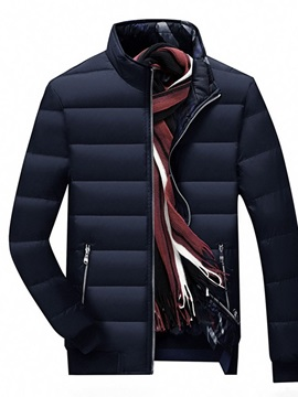 Plain Standard Stand Collar Zipper Men's Down Jacket