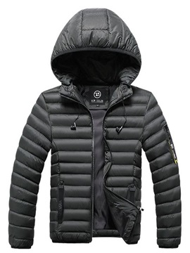 Plain Zipper Hooded Standard Casual Men's Down Jacket