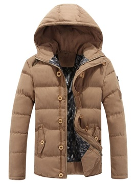 Plain Standard Zipper Casual Men's Down Jacket