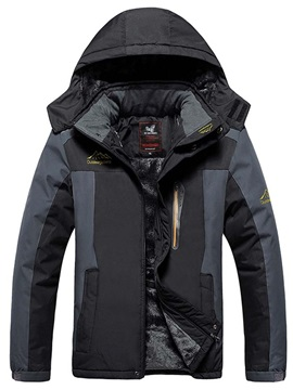Hooded Mid-Length Color Block Zipper Men's Down Jacket