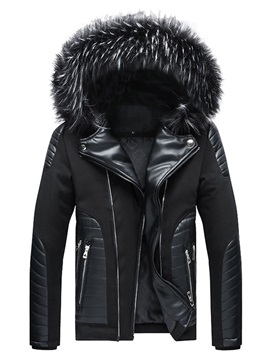 Color Block Zipper Standard European Men's Down Jacket
