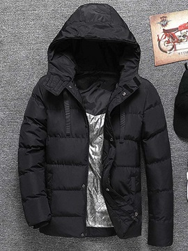 Mid-Length Plain Hooded Zipper Men's Down Jacket