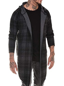 Plaid Long Hooded Casual Men's Trench Coat