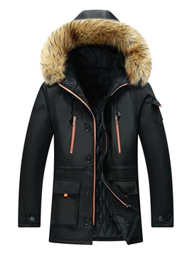 Color Block Patchwork Hooded Mid-Length European Men's Down Jacket