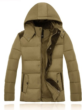 Hooded Standard Color Block Men's Slim Down Jacket