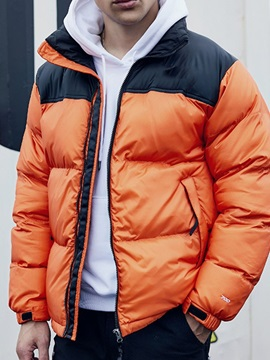 Color Block Zipper Standard Zipper Men's Down Jacket