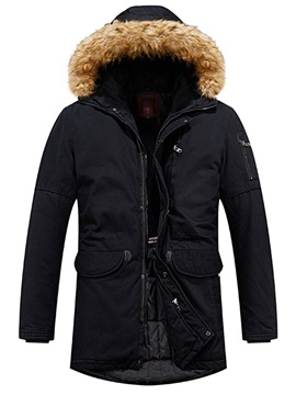 Hooded Mid-Length Color Block Patchwork Zipper Men's Down Jacket