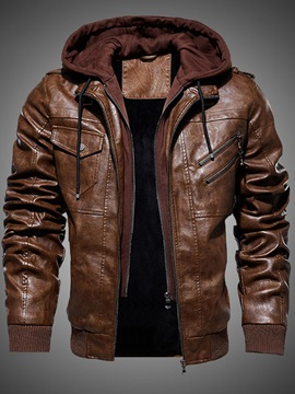 Patchwork Hooded Plain Casual Men's Jacket