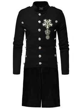 Embroidery Stand Collar European Men's Coat