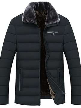 Standard Lapel Plain Zipper Men's Down Jacket