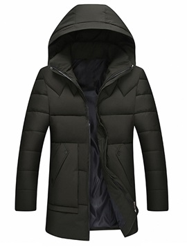 Hooded Plain Zipper Men's Down Jacket